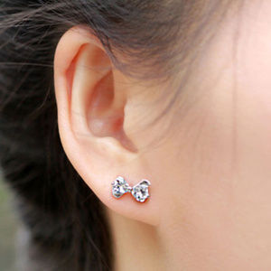 Jewelry - 🎀ADORABLE Silverplated Bowknot CZ Stud Earrings🎀
